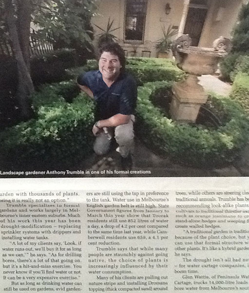 Anthony Trumble from Designer Gardens in Melbourne Weekly
